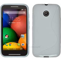 Housse etui coque pochette silicone gel pour Motorola Moto E + film ecran - BLANC