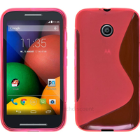Housse etui coque pochette silicone gel pour Motorola Moto E + film ecran - ROSE