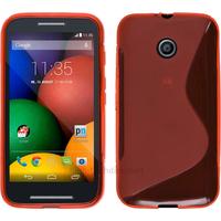 Housse etui coque pochette silicone gel pour Motorola Moto E + film ecran - ROUGE