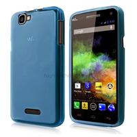 Housse etui coque pochette silicone gel fine pour Wiko Rainbow 4G + film ecran - BLEU FONCE