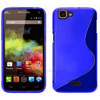 Housse etui coque silicone gel fine pour Wiko Rainbow 4G + film ecran - BLEU SLINE