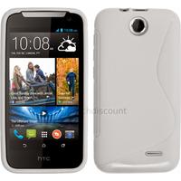 Housse etui coque pochette silicone gel fine pour HTC Desire 310 + film ecran - BLANC