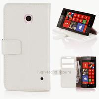 Housse etui coque pochette portefeuille PU cuir pour Nokia Lumia 630 635 + film ecran - BLANC