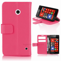 Housse etui coque pochette portefeuille PU cuir pour Nokia Lumia 630 635 + film ecran - ROSE