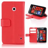 Housse etui coque pochette portefeuille PU cuir pour Nokia Lumia 630 635 + film ecran - ROUGE