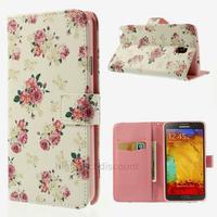 Housse etui coque portefeuille pour Samsung n7505 Galaxy Note 3 Neo Lite + film ecran - ROSE FLEURS