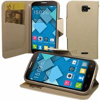 Housse etui coque pochette portefeuille pour Alcatel One Touch Pop C7 7041D + film ecran - BLANC