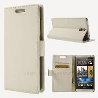 Housse etui coque pochette portefeuille PU cuir pour HTC Desire 610 + film ecran - BLANC