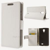 Housse etui coque pochette portefeuille PU cuir pour LG F70 + film ecran - BLANC