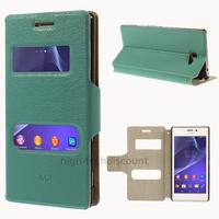 Housse etui coque pochette portefeuille PU cuir pour Sony Xperia M2 + film ecran - BLEU VIEW