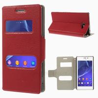 Housse etui coque pochette portefeuille PU cuir pour Sony Xperia M2 + film ecran - ROUGE VIEW