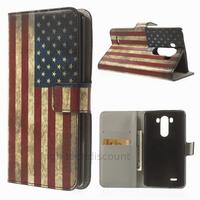 Housse etui coque pochette portefeuille PU cuir pour LG G3 + film ecran - USA