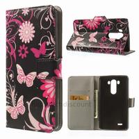 Housse etui coque pochette portefeuille PU cuir pour LG G3 + film ecran - FLEURS N