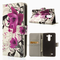 Housse etui coque pochette portefeuille PU cuir pour LG G3 + film ecran - LOTUS
