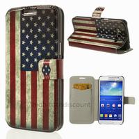 Housse etui coque portefeuille PU cuir pour Samsung g7105 Galaxy Grand 2 + film ecran - USA