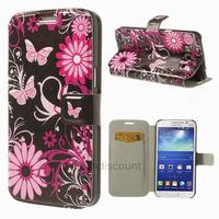Housse etui coque portefeuille PU cuir pour Samsung g7105 Galaxy Grand 2 + film ecran - FLEURS N