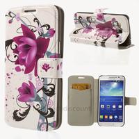 Housse etui coque portefeuille PU cuir pour Samsung g7105 Galaxy Grand 2 + film ecran - LOTUS