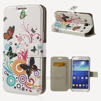 Housse etui coque portefeuille PU cuir pour Samsung g7105 Galaxy Grand 2 + film ecran - PAPILLONS