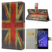 Housse etui coque pochette portefeuille PU cuir pour Sony Xperia Z2 + film ecran - UK