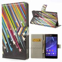 Housse etui coque pochette portefeuille PU cuir pour Sony Xperia Z2 + film ecran - ETOILES