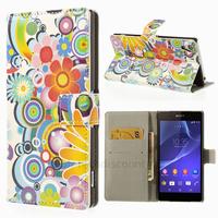 Housse etui coque pochette portefeuille PU cuir pour Sony Xperia Z2 + film ecran - FEURS C