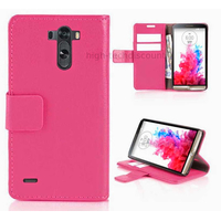 Housse etui coque pochette portefeuille PU cuir pour LG G3 + film ecran - ROSE