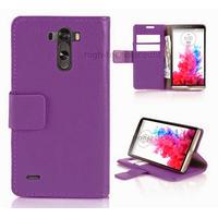 Housse etui coque pochette portefeuille PU cuir pour LG G3 + film ecran - MAUVE