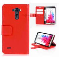 Housse etui coque pochette portefeuille PU cuir pour LG G3 + film ecran - ROUGE