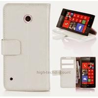 Housse etui coque pochette portefeuille PU cuir pour Nokia Lumia 530 + film ecran - BLANC