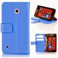 Housse etui coque pochette portefeuille PU cuir pour Nokia Lumia 530 + film ecran - BLEU