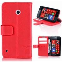 Housse etui coque pochette portefeuille PU cuir pour Nokia Lumia 530 + film ecran - ROUGE