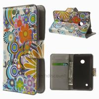 Housse etui coque pochette portefeuille PU cuir pour Nokia Lumia 530 + film ecran - FLEURS C