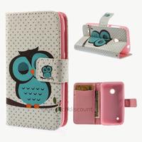 Housse etui coque pochette portefeuille PU cuir pour Nokia Lumia 530 + film ecran - HIBOU