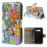 Housse etui coque portefeuille PU cuir pour Alcatel One Touch Pop C5 5036D + film ecran - FLEURS C
