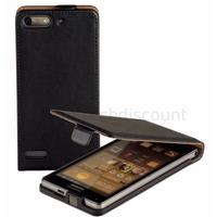 Housse etui coque pochette PU cuir fine pour Huawei Ascend G6 (P6 Mini) + film ecran - NOIR