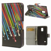 Housse etui coque portefeuille PU cuir pour Samsung Galaxy S5 Mini G800F + film ecran - ETOILES