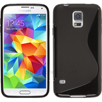 Housse etui coque silicone gel fine pour Samsung Galaxy S5 Mini G800F + film ecran - NOIR