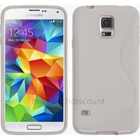 Housse etui coque silicone gel fine pour Samsung Galaxy S5 Mini G800F + film ecran - BLANC