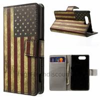 Housse etui coque pochette portefeuille PU cuir pour Sony Xperia Z3 Compact + film ecran - USA