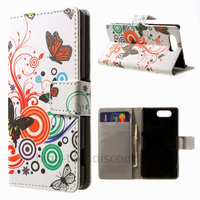 Housse etui coque pochette portefeuille PU cuir pour Sony Xperia Z3 Compact + film ecran - PAPILLONS