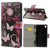 Housse etui coque pochette portefeuille PU cuir pour Sony Xperia Z3 + film ecran - FLEURS N
