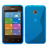Housse etui coque pochette silicone gel fine pour Huawei Ascend Y330 + film ecran - BLEU