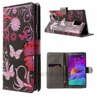 Housse etui coque pochette portefeuille PU cuir pour Samsung G910F Galaxy Note 4 + film ecran - FLEURS N