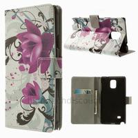 Housse etui coque pochette portefeuille PU cuir pour Samsung G910F Galaxy Note 4 + film ecran - LOTUS