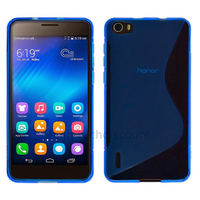 Housse etui coque pochette silicone gel fine pour Huawei Honor 6 + film ecran - BLEU
