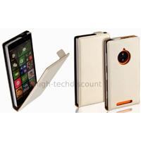 Housse etui coque pochette PU cuir fine pour Nokia Lumia 830 + film ecran - BLANC