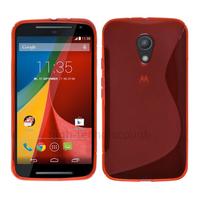 Housse etui coque silicone gel fine pour Motorola Moto G 2eme generation 2014 + film ecran - ROUGE
