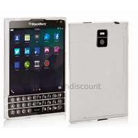 Housse etui coque pochette silicone gel fine pour Blackberry Passport + film ecran - BLANC