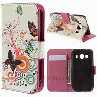 Housse etui coque pochette portefeuille PU cuir pour Samsung G357 Galaxy Ace 4 4G + film ecran - PAPILLONS