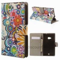 Housse etui coque pochette portefeuille PU cuir pour Microsoft Nokia Lumia 535 + film ecran - FLEURS C